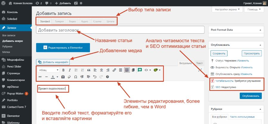 Обзор редактора WordPress
